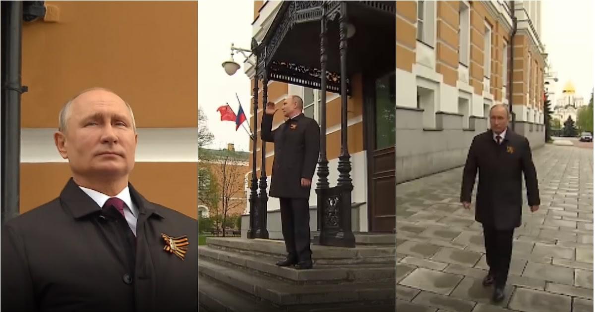 Фото Снова на улице: Путина без маски засняли за просмотром авиапарада