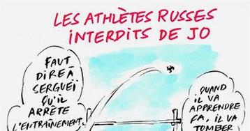 Charlie Hebdo опубликовал карикатуру на отстраненных от Олимпиады российских спортсменов