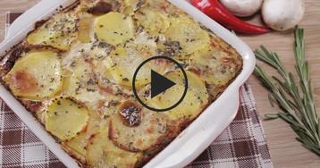 Картофельный гратен с грибами: видео-рецепт