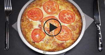 Картофельный пирог с беконом: видео-рецепт