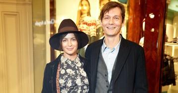Оксана Фандера и Филипп Янковский на открытии выставки «Жизнь, как в кино» в ГУМе