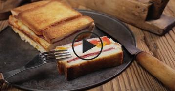 """Пирог """"Крок-Месье"""": видео-рецепт"""