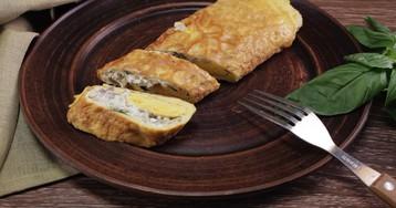 Омлет с вешенками и сливочным сыром: видео-рецепт