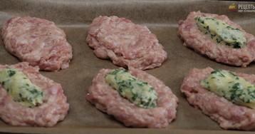Мясные зразы с сыром и зеленью