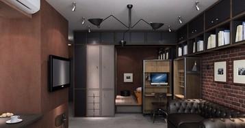 Студия со спальней в нише и рабочим столом в шкафу