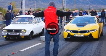 Modded 40-Year Old Dacia Challenges BMW i8 For A Quarter Mile Run