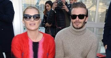 Кейт Мосс и Дэвид Бекхэм на показе Louis Vuitton x Supreme в Париже