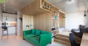 Современный интерьер квартиры-студии: проект Ruetemple