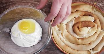 Блинный пирог с творожной начинкой: видео-рецепт
