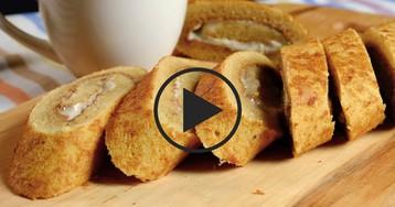 Бисквитный рулет с абрикосами и фисташками: видео-рецепт