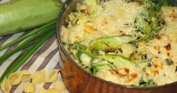 Запеченная паста с рикоттой и молодыми овощами
