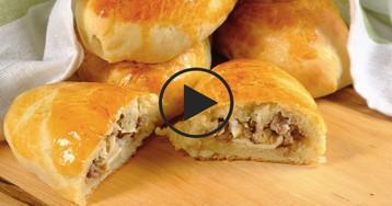 Быстрые пирожки на кефире с мясной начинкой: видео-рецепт