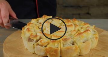 """Мясной пирог """"Хризантема"""": видео-рецепт"""