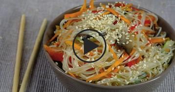 Фрунчоза с грибами и овощами: видео-рецепт