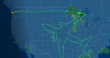 Пилоты лайнера помогли ему нарисовать в небе огромный автопортрет