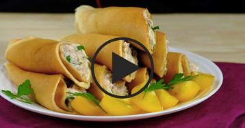 Блинчики с печенью трески: видео-рецепт