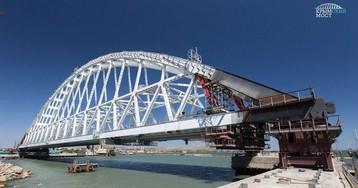 Россияне начали устанавливать железнодорожную арку Керченского моста