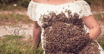 Беременная женщина устроила фотосессию с 20 000 пчел: видео и фото
