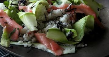 Японский рис с кабачками и маринованным имбирем