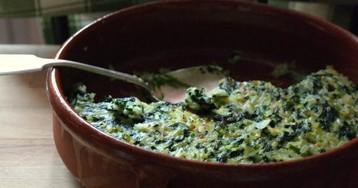 Фриттата с рисом и шпинатом