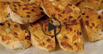 Итальянские бискотти с сухофруктами: видео-рецепт