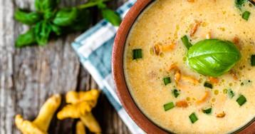 Аппетитный крем-суп с лисичками