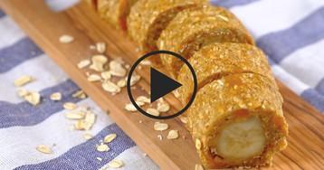 Полезные овсяные роллы с бананом: видео-рецепт