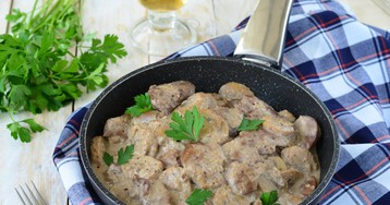 Аппетитная куриная печень в кефирно-горчичном соусе