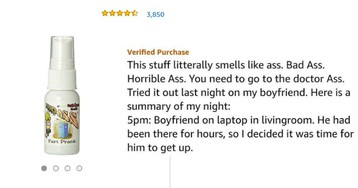 Girl Leaves Hilarious Review For 'Liquid Ass' After She Uses it to Prank Her Boyfriend