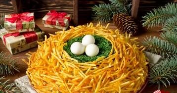 """Праздничный салат """"Гнездо глухаря"""""""
