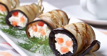 Аппетитные рулетики из баклажанов