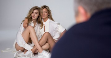 See Exclusive Behind-the-Shots of Gigi Hadid and Kate Moss' Twinning, Pantsless New Ad Campaign