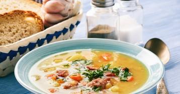 Наваристый гороховый суп с копчёностями