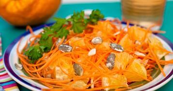Лёгкий салат из тыквы, апельсинов и моркови