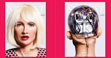 Эволюция глянца: впервые обложку модного журнала украсила робот София