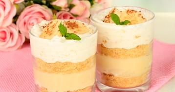 Сливочно-кремовый десерт с бананом