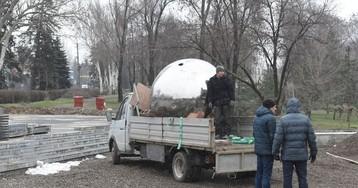 В Запорожье появился огромный блестящий шар