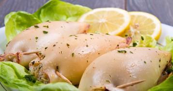 Вкуснейшие кальмары, фаршированные грибами и овощами