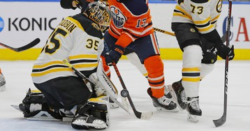 Anton Khudobin Makes Huge Save On Connor McDavid To Keep Game In Reach