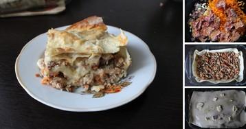 Пошаговый фото-рецепт: Мясной пирог с лавашем