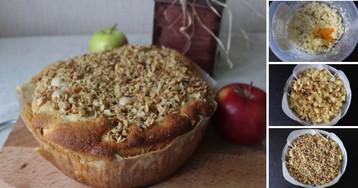 Пошаговый фото-рецепт: Яблочный кекс с овсяным штрейзелем
