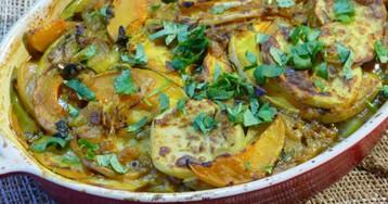 Гратен из тыквы с картофелем в тайском стиле