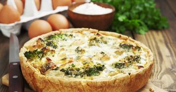 Киш Лорен с курицей, грибами и брокколи