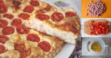 Пышный пирог с ветчиной, помидорами черри и сыром: gошаговый фото рецепт