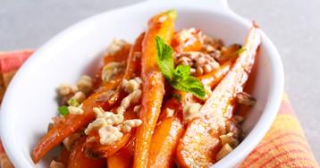 Глазированная морковь с грецкими орехами