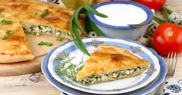 Пирог с яйцами и зелёным луком