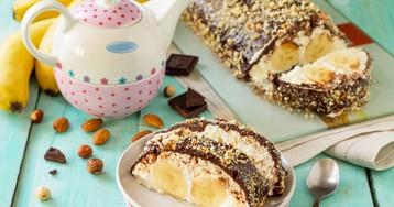 Творожно-шоколадный десерт с бананом