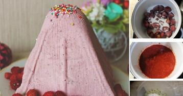Творожная пасха с клубникой: пошаговый фото рецепт