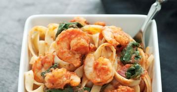 Вкуснейшая паста с креветками и шпинатом