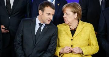 Merkel Huddles With Macron to Coordinate Trade Pitch to Trump